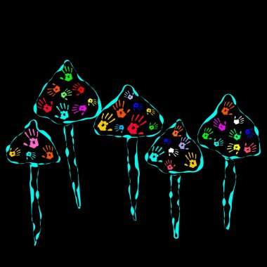 Magic Mushrooms with color Hands in abstract style