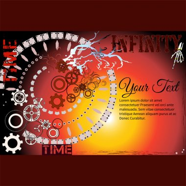 Frame for text with a Clock mechanism, Gearwheels and words Time and Infinity