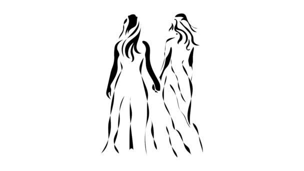 Šťastný pár ženské chůze a držení rukou. Animované vektorový obrázek na černé, bílé a zelené. Každý fragment je snadné loopable