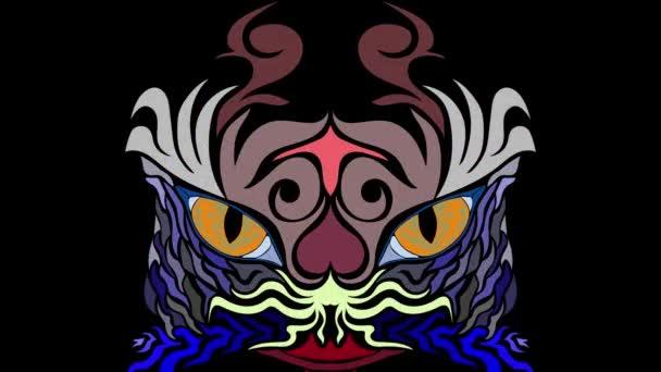 Stavy mysli. Tváře ve stylu abstraktního umění, v mírně psychedelické způsobem - bezešvá smyčka