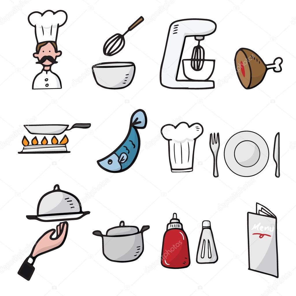 Chef y cocina dibujos animados dibujar iconos archivo for Herramientas de un cocinero