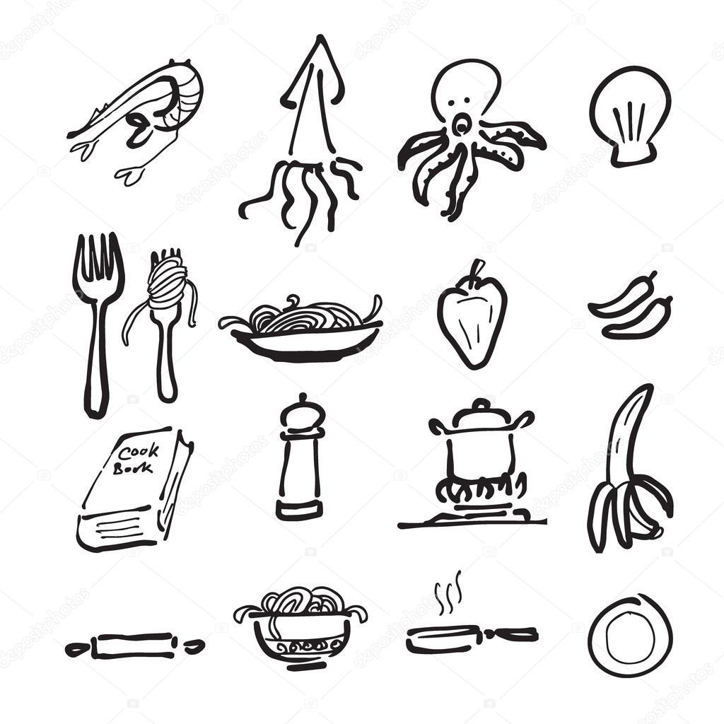 Nourriture Et Cuisine Dessin Ensemble D Icones Image Vectorielle