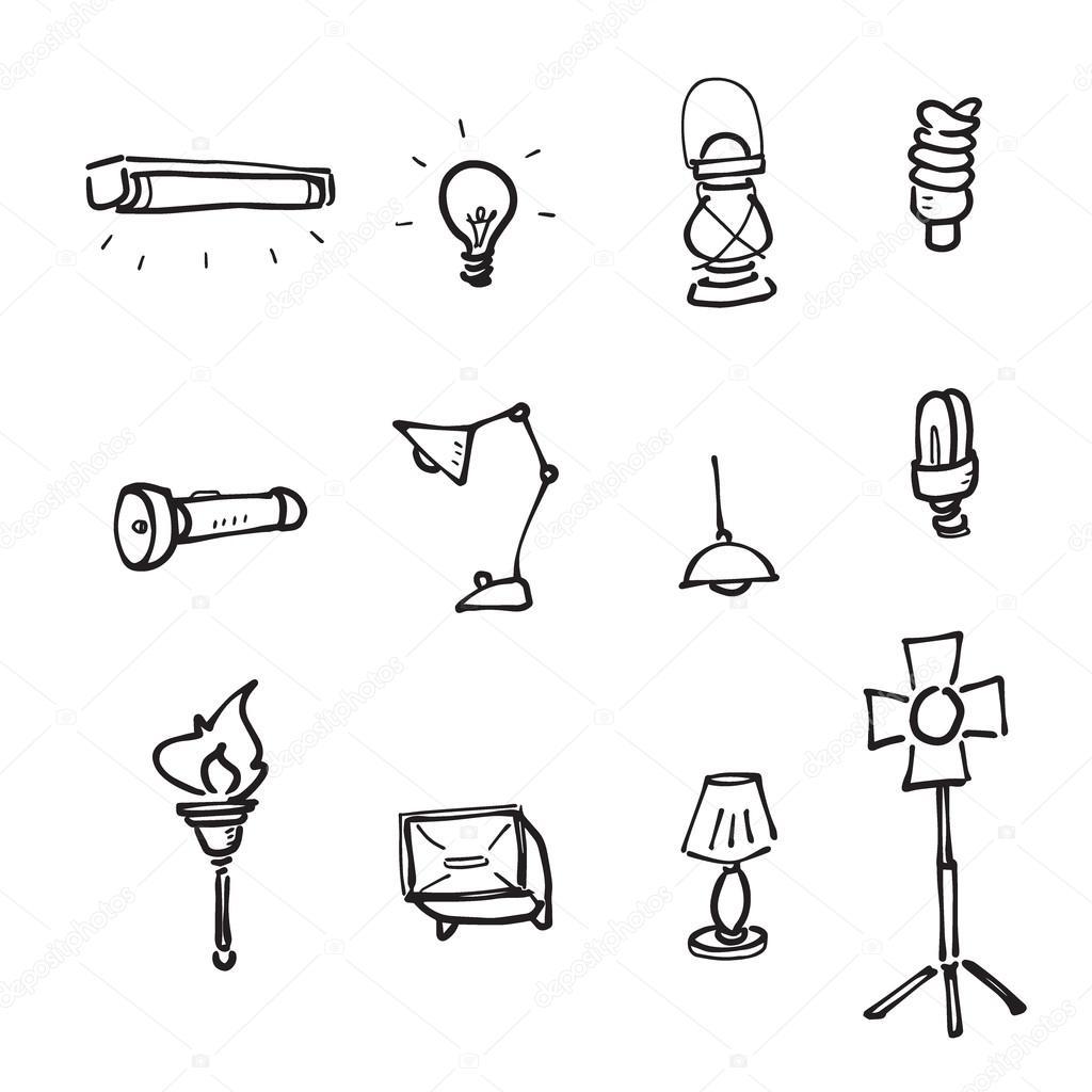 Lampen en verlichting tekening icons set stockvector for Lampen en verlichting