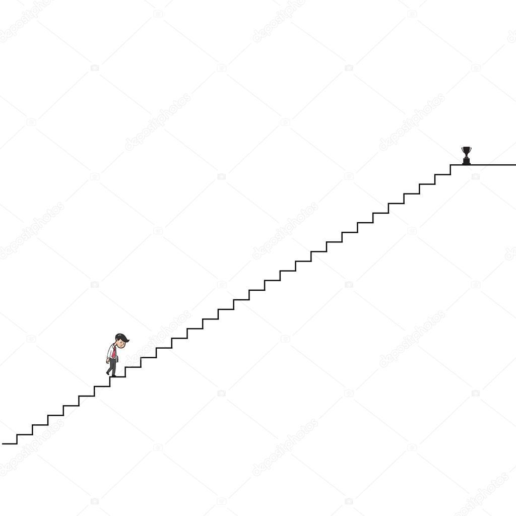 Férfi séta fel hosszú lépcsők rajzfilm rajz — Stock Vektor ...