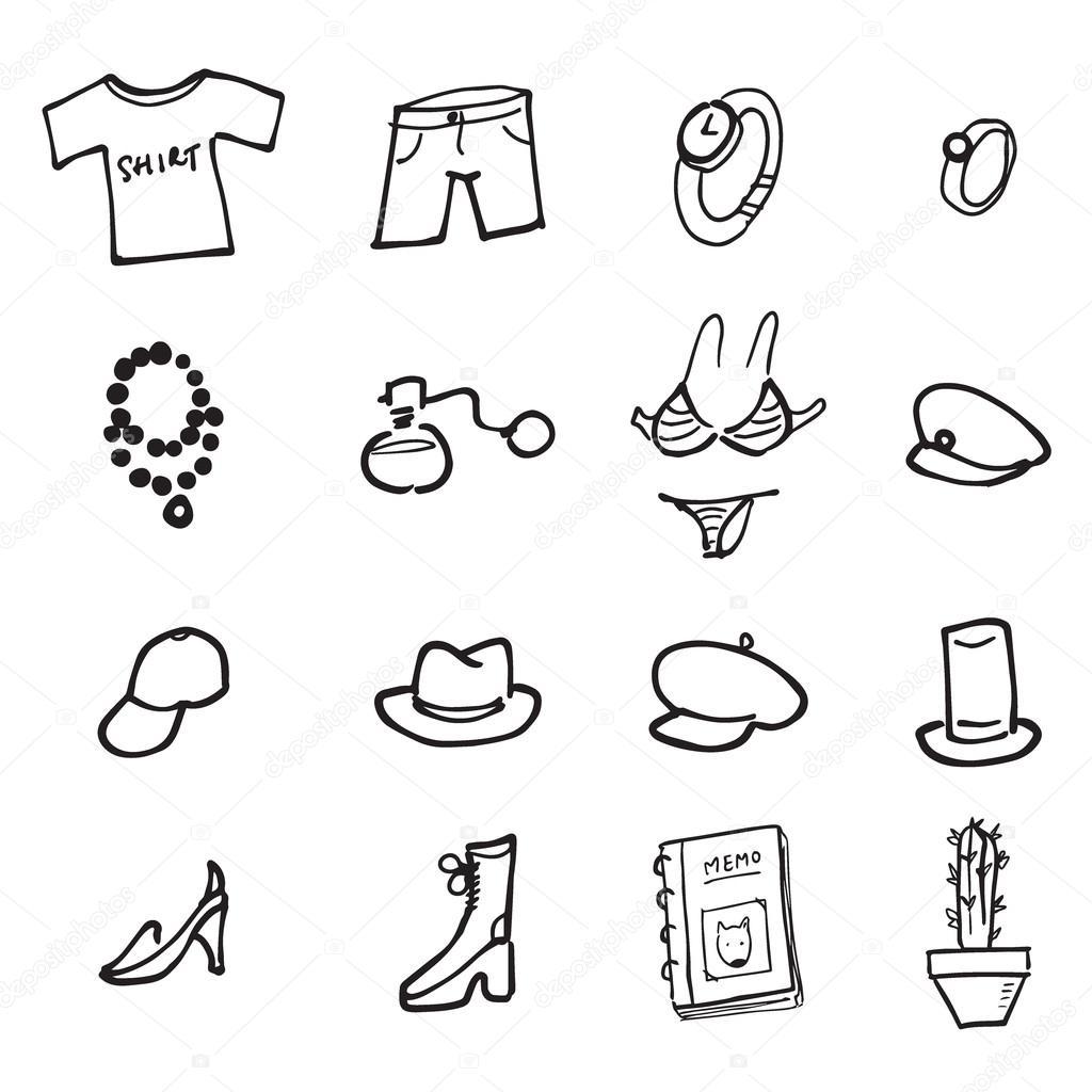 Zivotni Styl Obleceni A Doplnky Kreslene Kresleni Stock Vektor