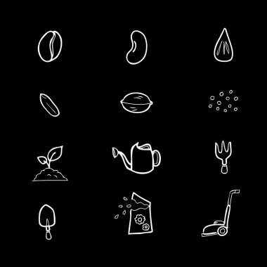 Seeds and gardening icons set