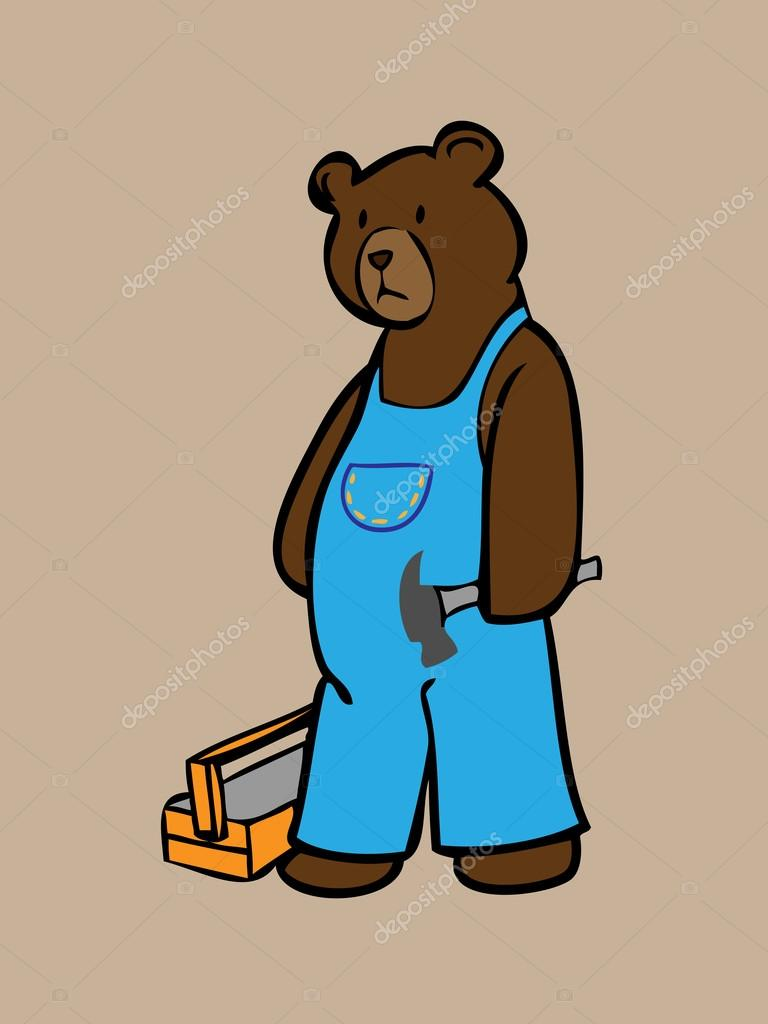 Brown bear with hammer in overall jean
