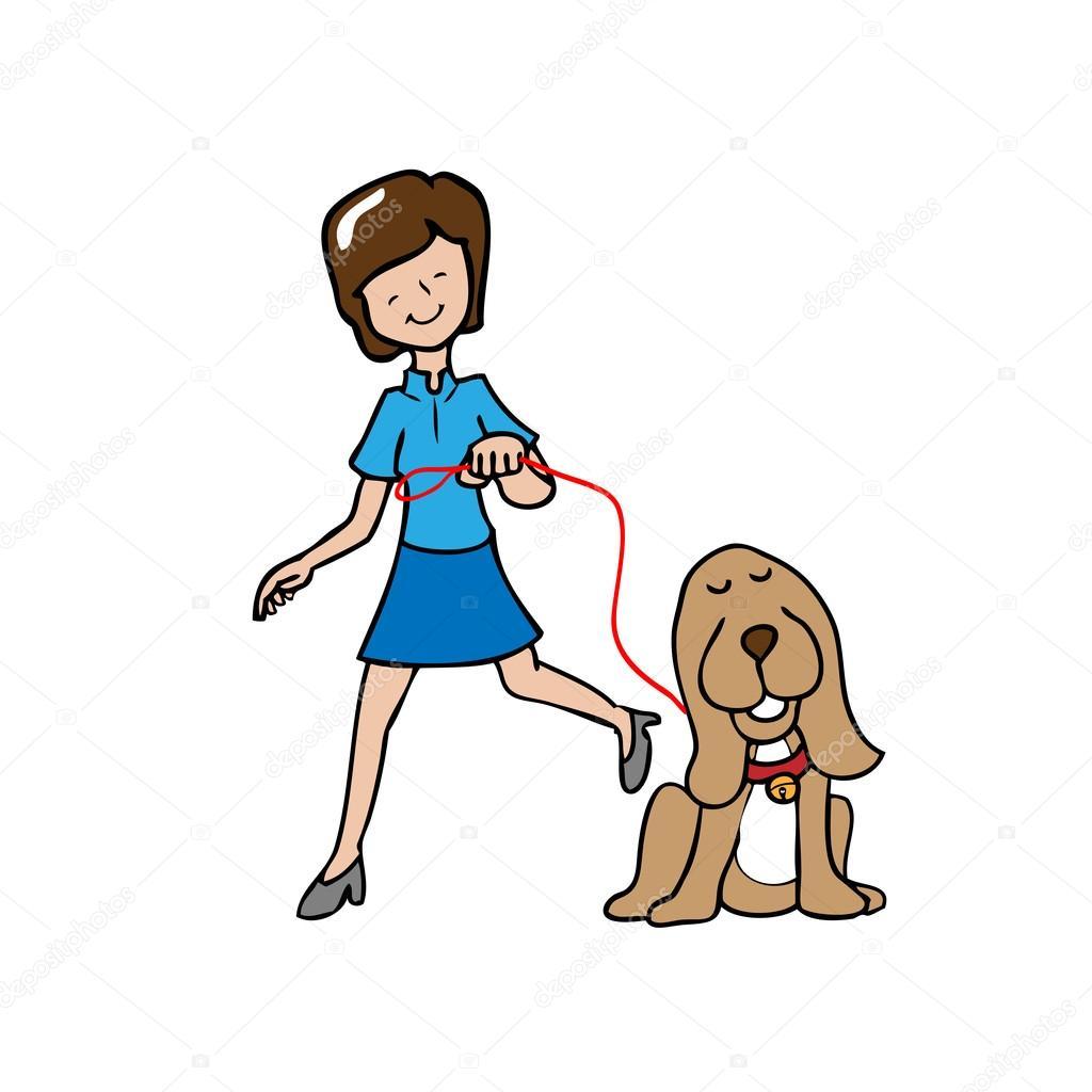 A pie de la mujer el perro — Archivo Imágenes Vectoriales ...