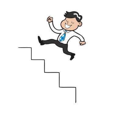 Businessman jumping up stairs cartoon