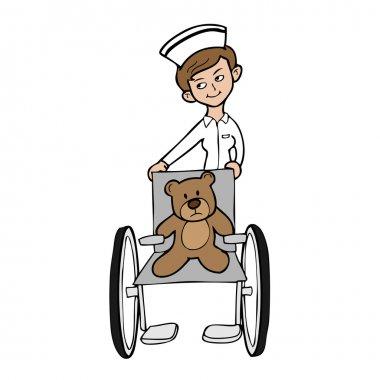 Nurse wheel chair bear
