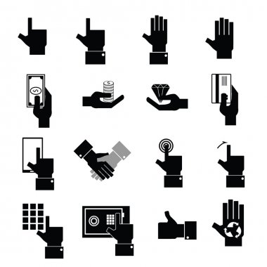Hand money and wealth icons