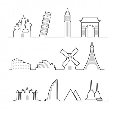 Travel location landmark icons line