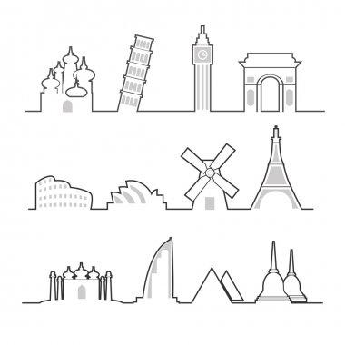 Travel location landmark icons line