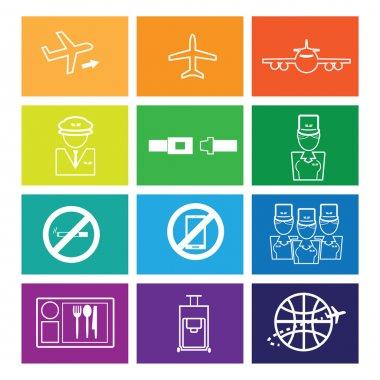 Airways service icons set flat