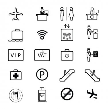 Airport sign icons set