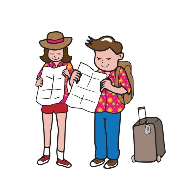 Traveller man and woman