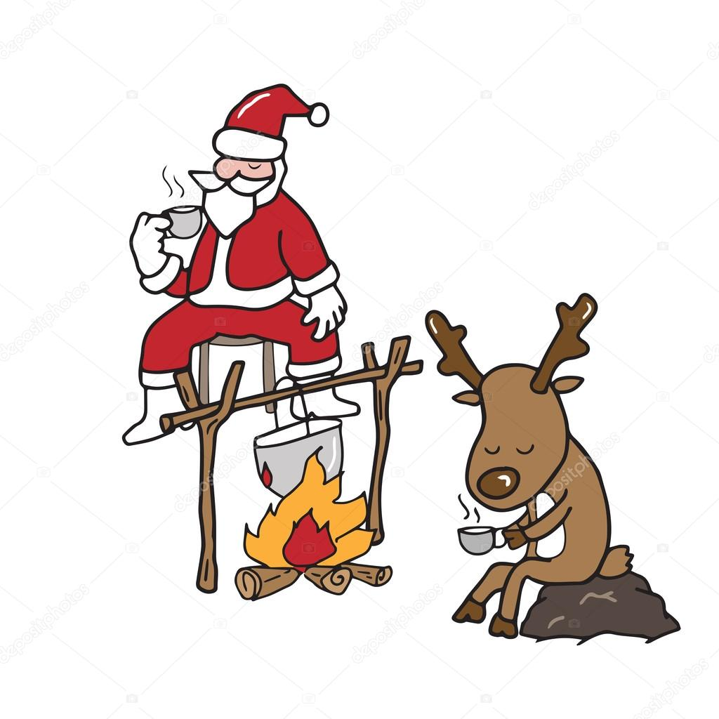Weihnachten Weihnachtsmann und Rentier Kaffeetrinken — Stockvektor ...