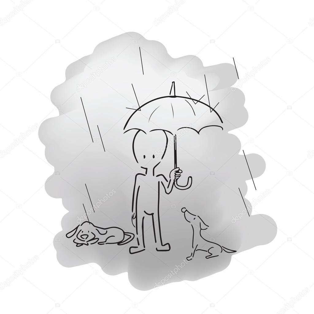 Hombre de pie bajo la lluvia con paraguas y perros — Archivo ...