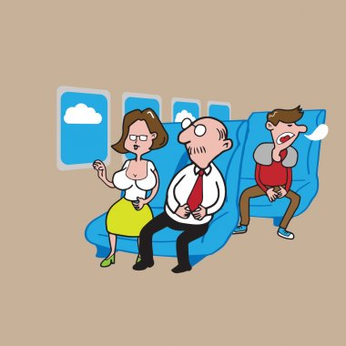 Airplane cabin passengers crowed 2