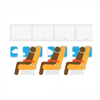 Airplane cabin seats and passengers