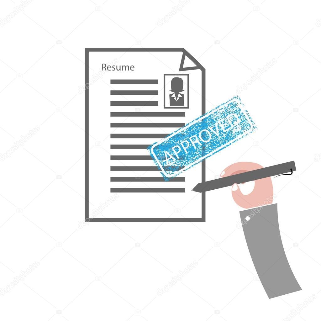 Hand Stift Schreiben Appove Resume Stockvektor Tawesit At Gmailcom
