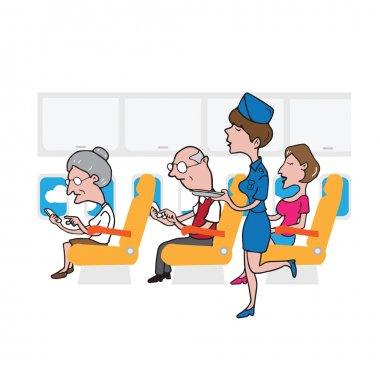 Airplane cabin passengers and air hostess