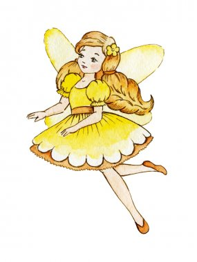Little Cute Magic Fairy. Cute Girl in Light Dress.