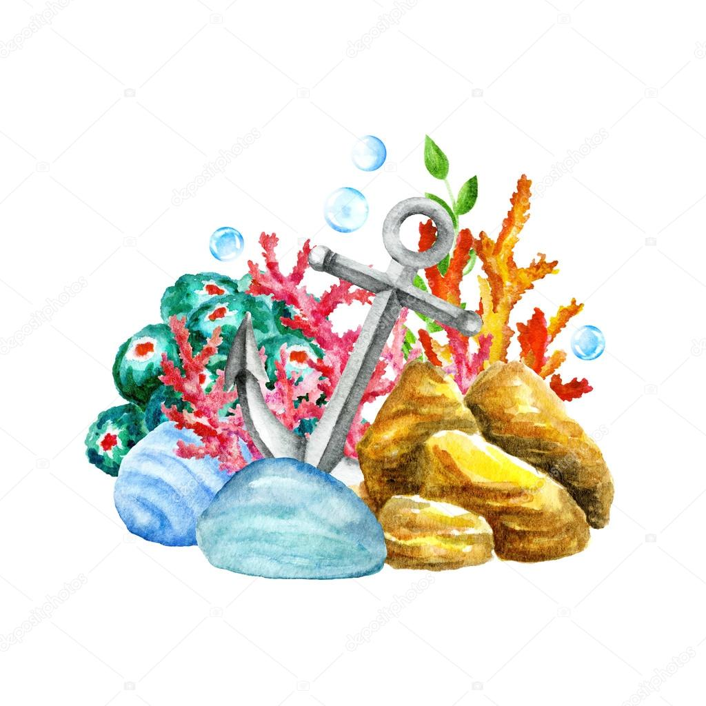 Exotic Caribbean Sea. Multicolor Stones,Corals, Seaweeds, Funny Fishes, Shells, Crab.