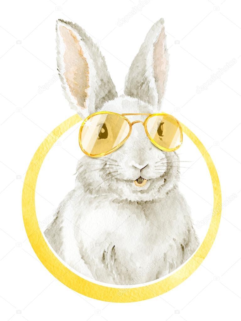 Cool Funny Smiling Bunny. \u2014 Stock Photo © Lineika #123835454