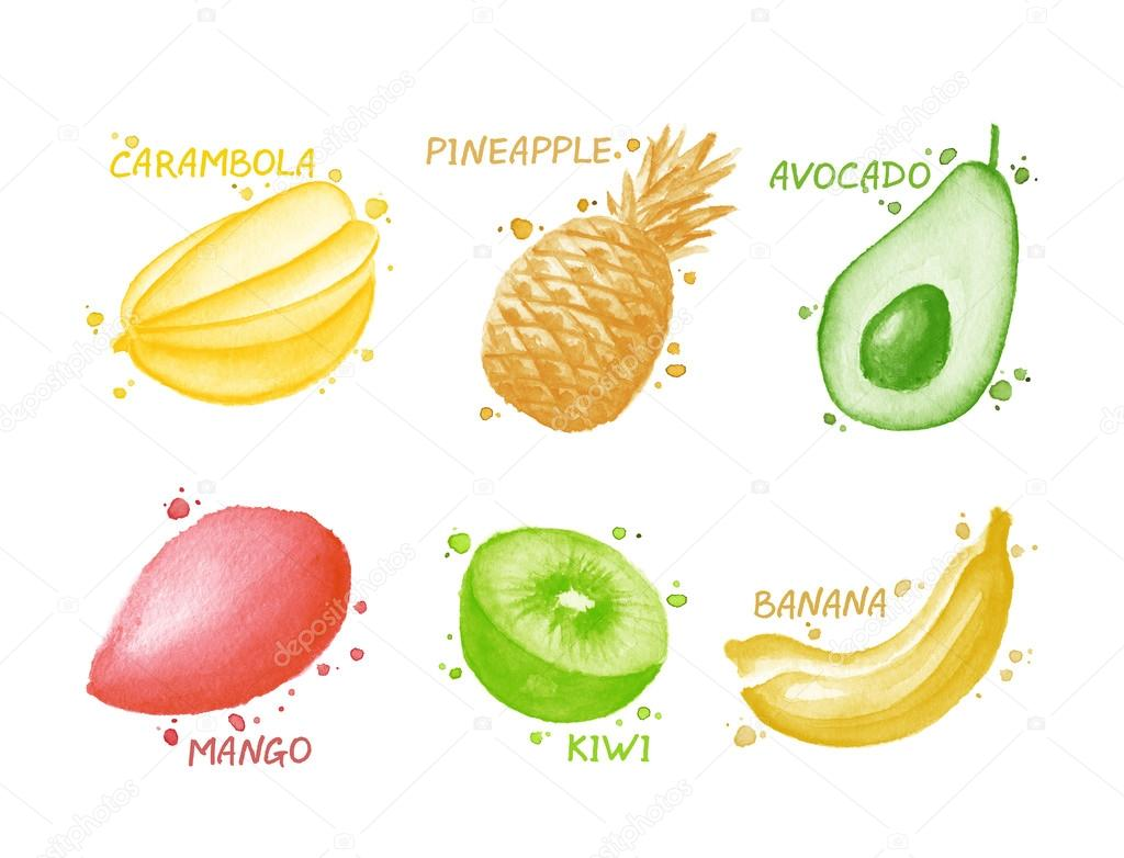 Fruits and berries set - star fruit, pineapple, kiwi, avocado, mango, banana