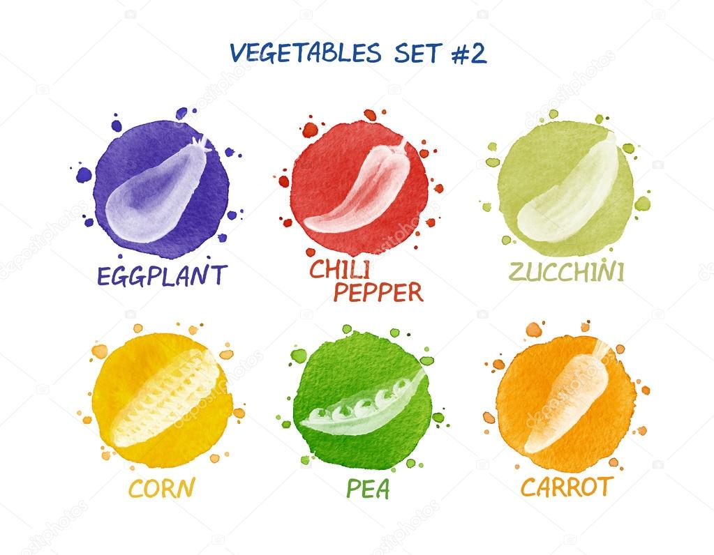 Vegetables set - eggplant, chili pepper, zucchini, corn, pea, carrot
