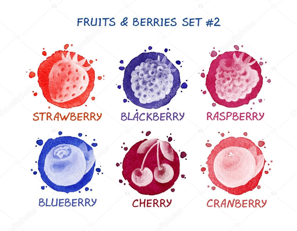 Fruits and berries set - strawberry, blackberry, raspberry, blueberry, cherry, cranberry