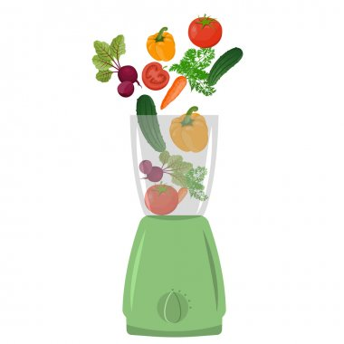 Illustration of blender with vegetables