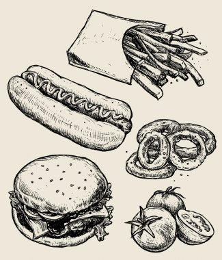 Set of hand drawn fast food. Vector hand drawn food emblems and illustrations. You may use them for restaurant or cafe menu, make posters, cards and and packing. Here you'll find: hamburger, french fries, tomatoes, hot dog. stock vector