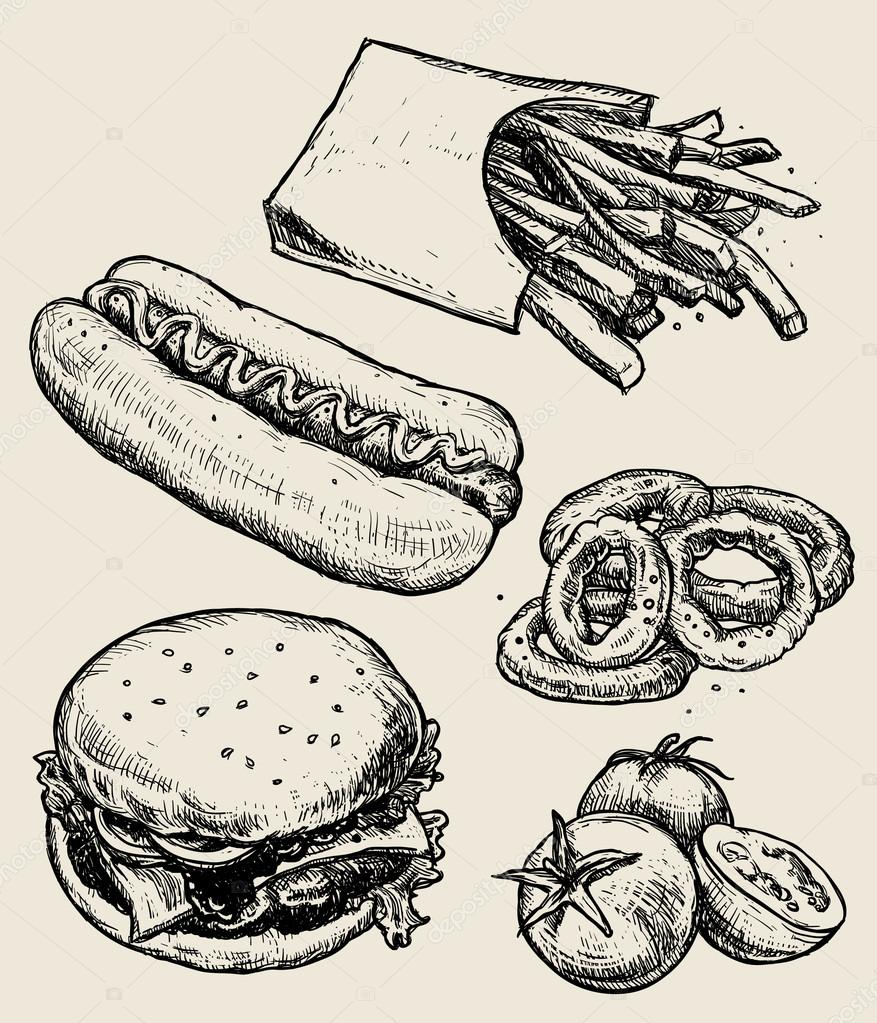 Vector hand drawn food emblems and illustrations. Fast Food set. Hamburger, french fries, tomatoes, hot dog.