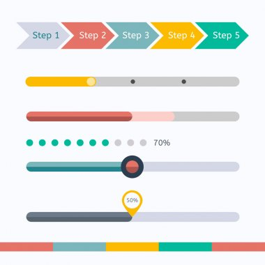 Flat progress bars set stock vector