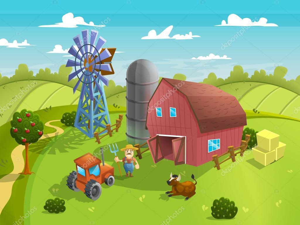 Cartoon Agriculture Farm Landscape Stock Vector 169 Mrdeymos 103008760