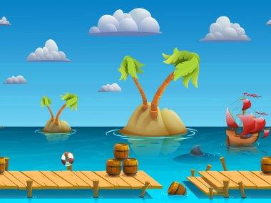 Seamless cartoon sea landscape