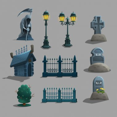 Set of gothic cemetery decorations.