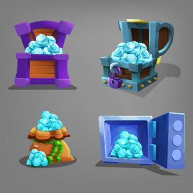 Set of gems in chest, bag and safe.