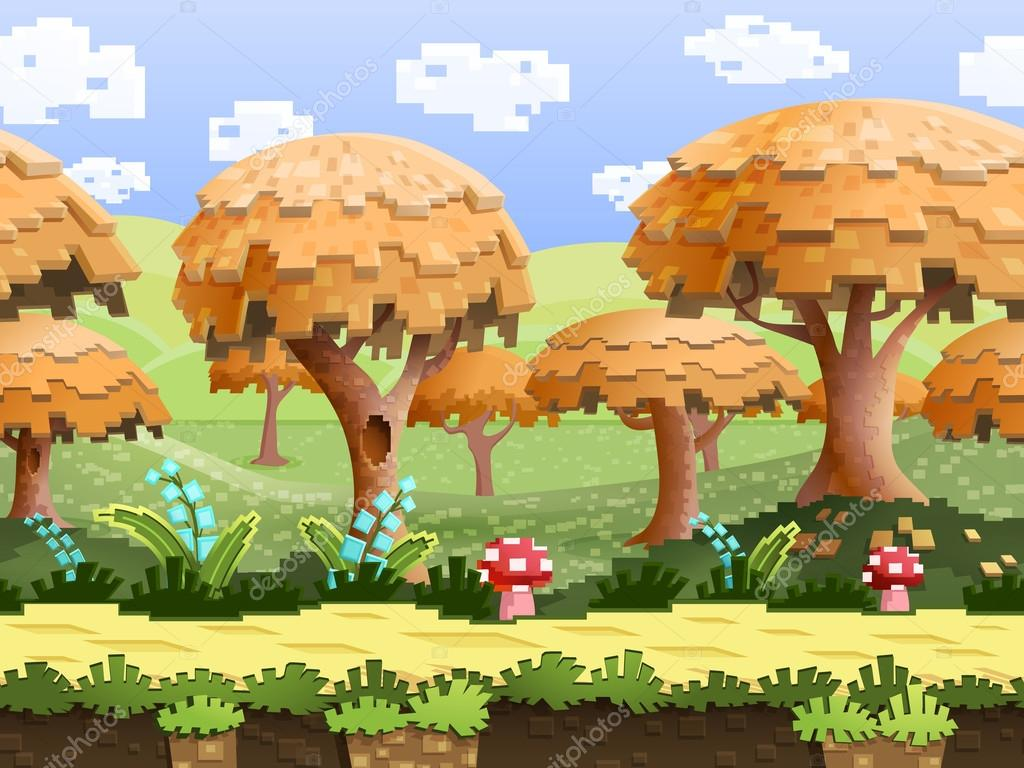 pixel nature landscape with trees