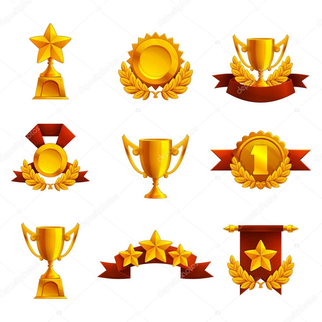 Set of trophies, medals and awards  — Stock Vector