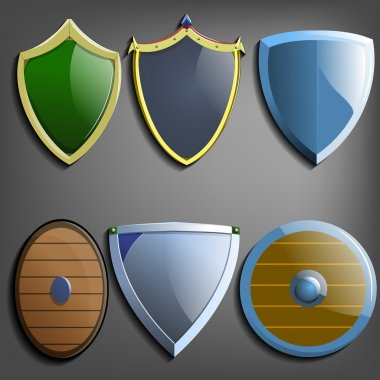 Set of colorful  shields.