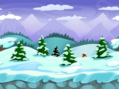 Seamless cartoon winter landscape