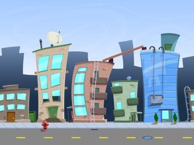 Seamless cartoon city landscape