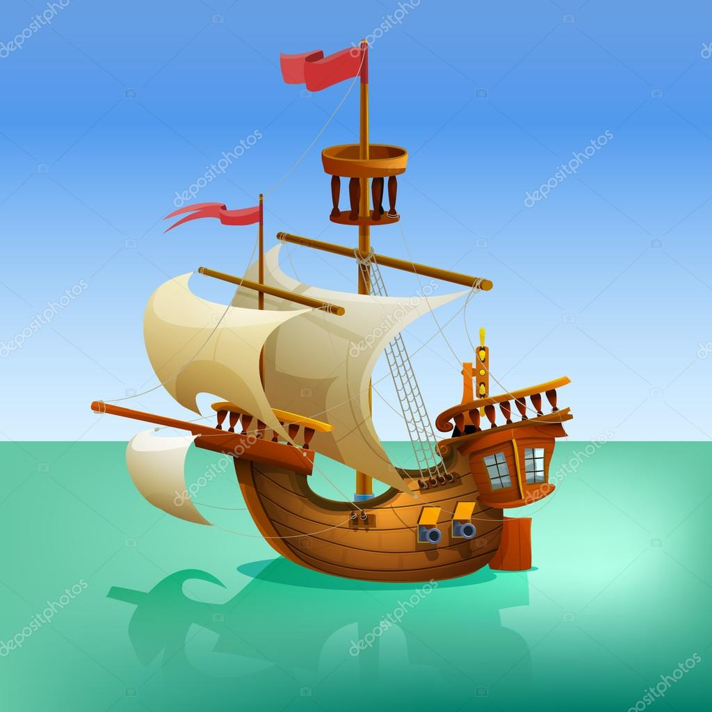 Wooden cartoon ship. — Stock Vector © MrDeymos #67077103