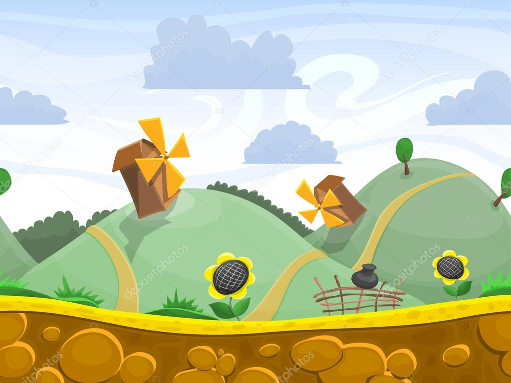 Seamless cartoon hills landscape