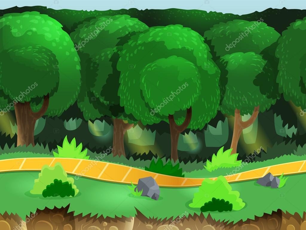 Seamless cartoon forest landscape