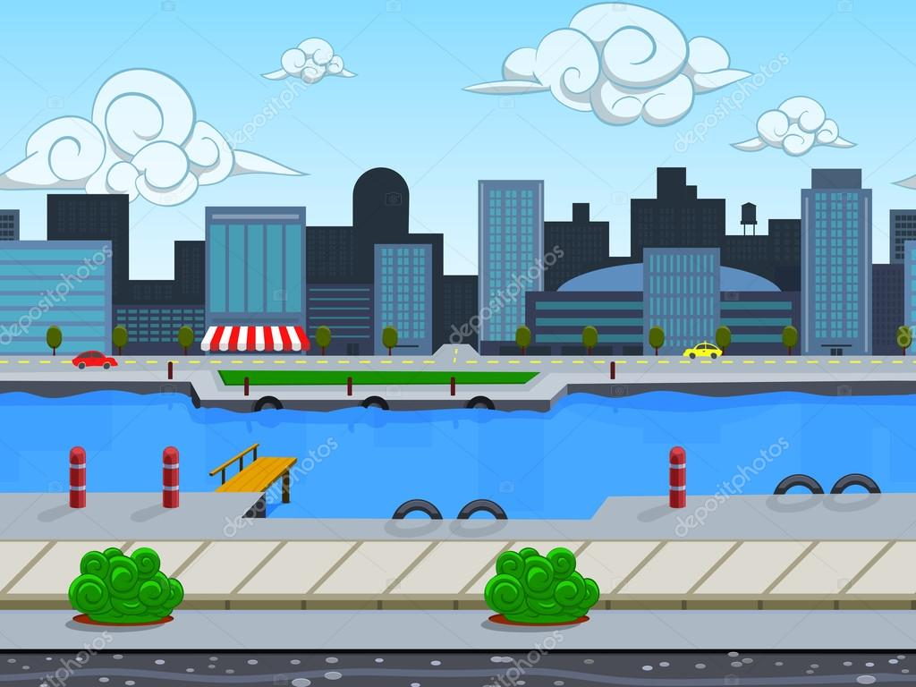 Seamless cartoon city landscape
