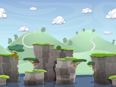 Seamless cartoon nature landscape